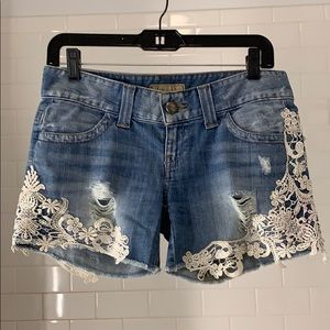 Guess Denim Shorts with Lace Detail